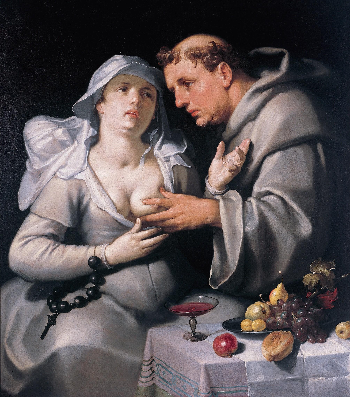 Een monnik en een begijn  *oil on canvas  *1591  *116 x 103 cm